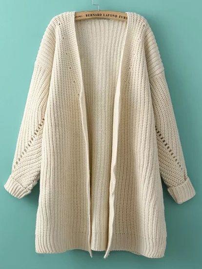Cardigan manches longues décontracté tricoté - Beige 21.16