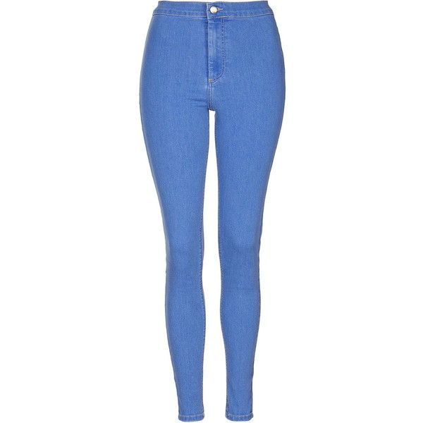TopShop Moto Bright Blue Joni Jeans ($50) ❤ liked on Polyvore featuring jeans, pants, bright blue, high rise jeans, super skinny jeans, highwaisted skinny jeans, skinny leg jeans and high waisted stretch jeans