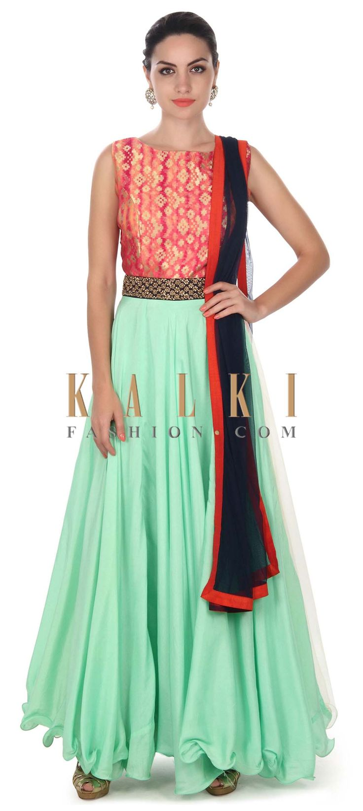 Buy this Green anarkali suit with brocade bodice only on Kalki
