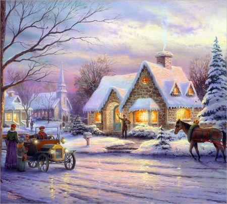 Thomas Kinkade - Memories of Christmas - kinkade, christmas, town, christmas tree, Thomas Kinkade, street, car, snow, winter, cottage, house, horse, thomas kinkade