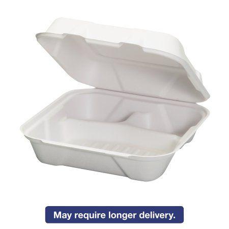 Genpak Harvest Fiber Hinged Containers, White, 9 x 9 x 3, 50