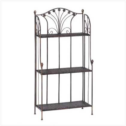 """UPC: #d1088 Storage made stylish and simple; that's the European way! Roomy baker's rack features three basket-weave shelves and an elegant rustic metal frame, turning an ordinary room into a decorating showcase.    Weight 19 lbs. Metal with PE rattan. 26½"""" x 13½"""" x 52¼"""" high.     May Require Additional Freight Charge.  $125 (plus tax/shipping). - to place an order for this product, contact us at asimpletouchgallery@gmail.com"""