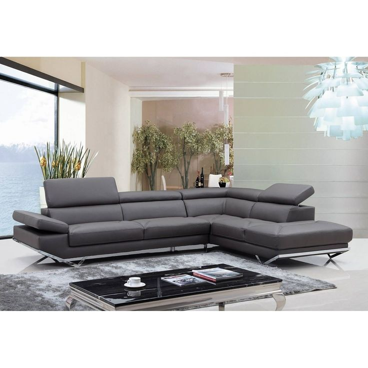 Walden Modern Dark Grey Leather L Shape Sofa With Adjustable Headrest Part 48