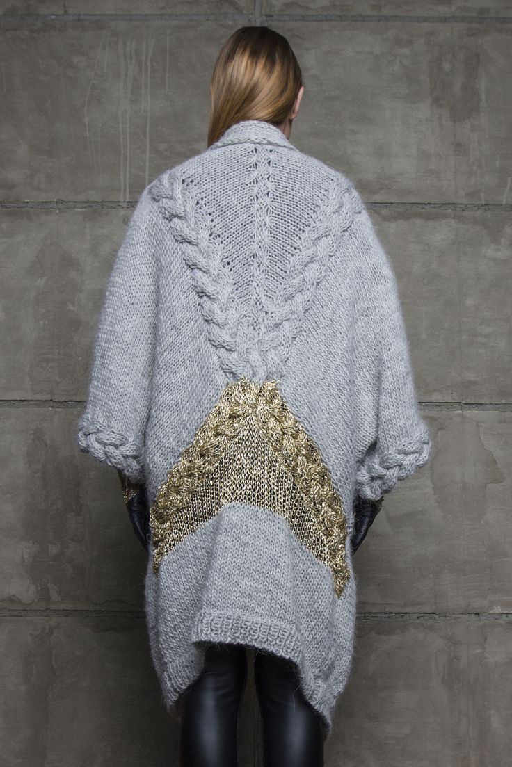 Robert Kalinkin Oversized hand-made woollen sweater with gold embroidery in the back
