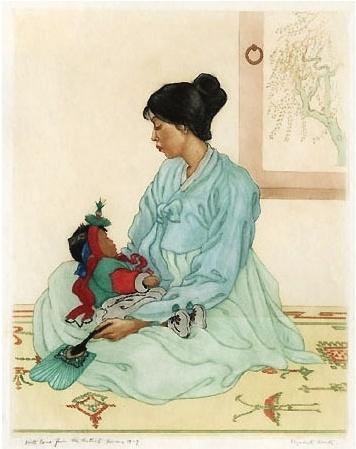 < 엄마와 아이 >, 엘리자베스 키스, 1924. 첫째 아이를 재우는 어머니의 모습이다. 여름인지 부채를 들고 있는데, 아이가 더위에 지쳐 잠들지 않게 살랑살랑 부채질해준다. 자식을 사랑하는 마음이 부채든 손길에 묻어나는 것 같다. 모자의 평온한 표정 보소. 1920년 대 작품이면 일제강점기였을텐데... 시대가 어렵고, 삶이 힘들었어도 자식을 향한 마음은 한결같았을 것이다.