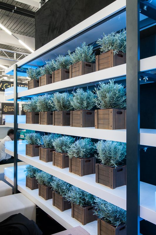 Can you taste the lavenders in your wine? Trade show display for Atlas Feinkost in Forum Vini Munich. design by Bouquet