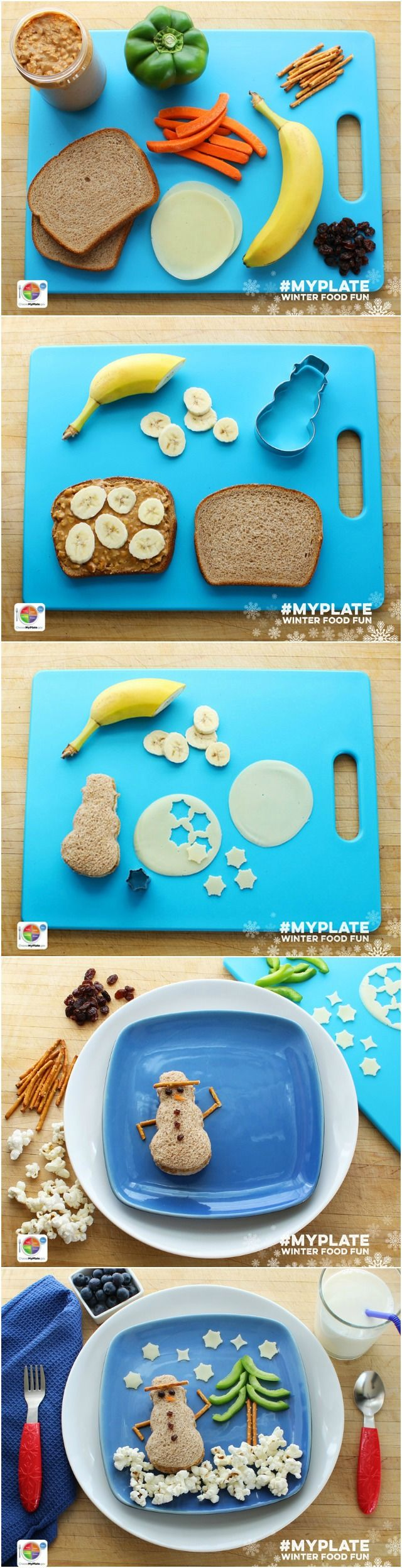 How to make an Edible #MyPlate Snowman @myplaterecipes