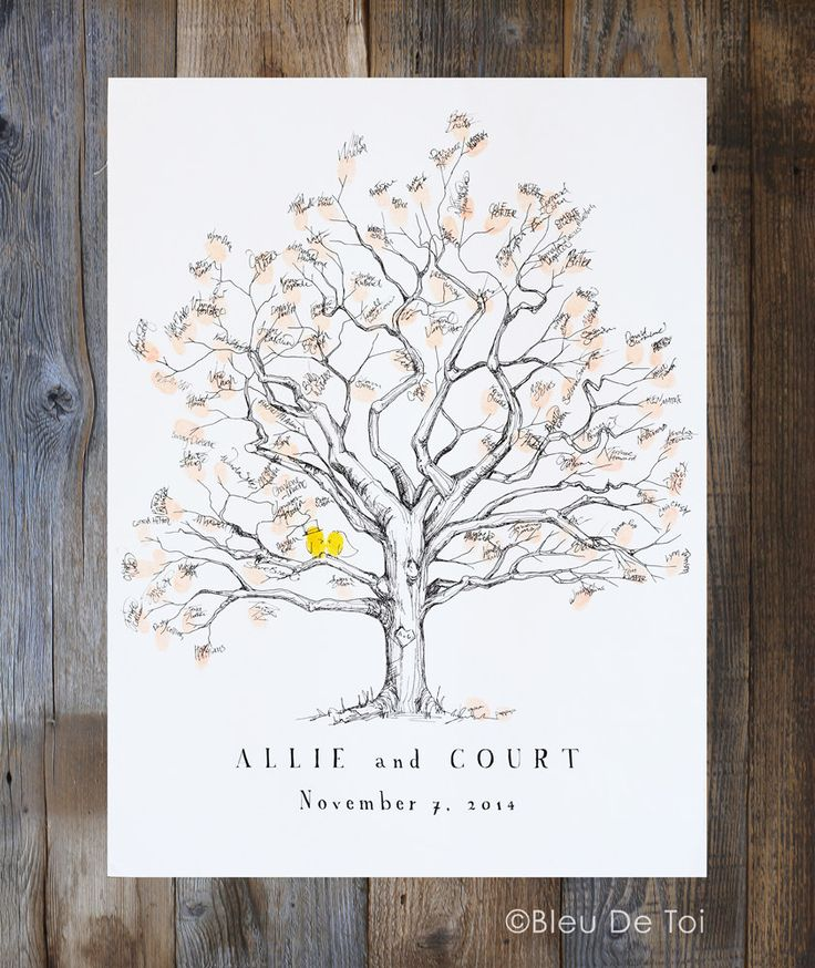 Fingerprint tree, Wedding Guest Book Alternative, thumbprint tree, unique guest book, Twisted oak for 80-150 guests, Rustic Wedding,Oak Tree by bleudetoi on Etsy https://www.etsy.com/listing/479818560/fingerprint-tree-wedding-guest-book