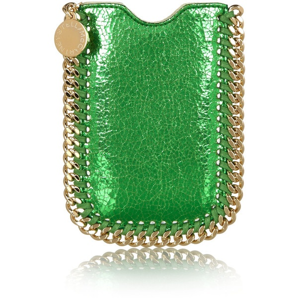 Stella McCartney Falabella metallic faux leather iPhone 5 sleeve ($315) ❤ liked on Polyvore