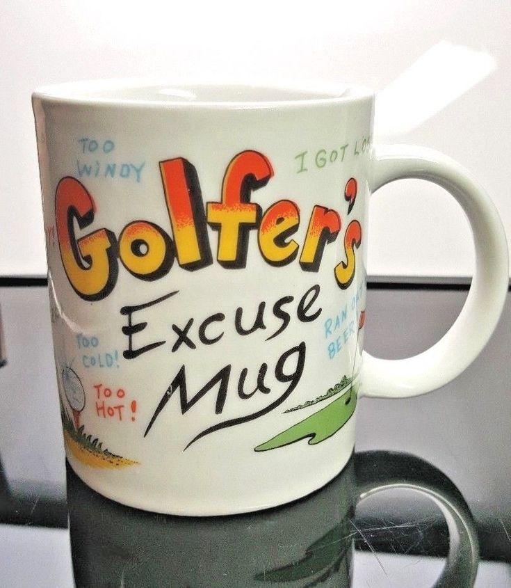 Lipco Golfer's Excuse Coffee Mug Cup  Vintage Gag Gift Funny Green Tee Golf Ball #Lipco