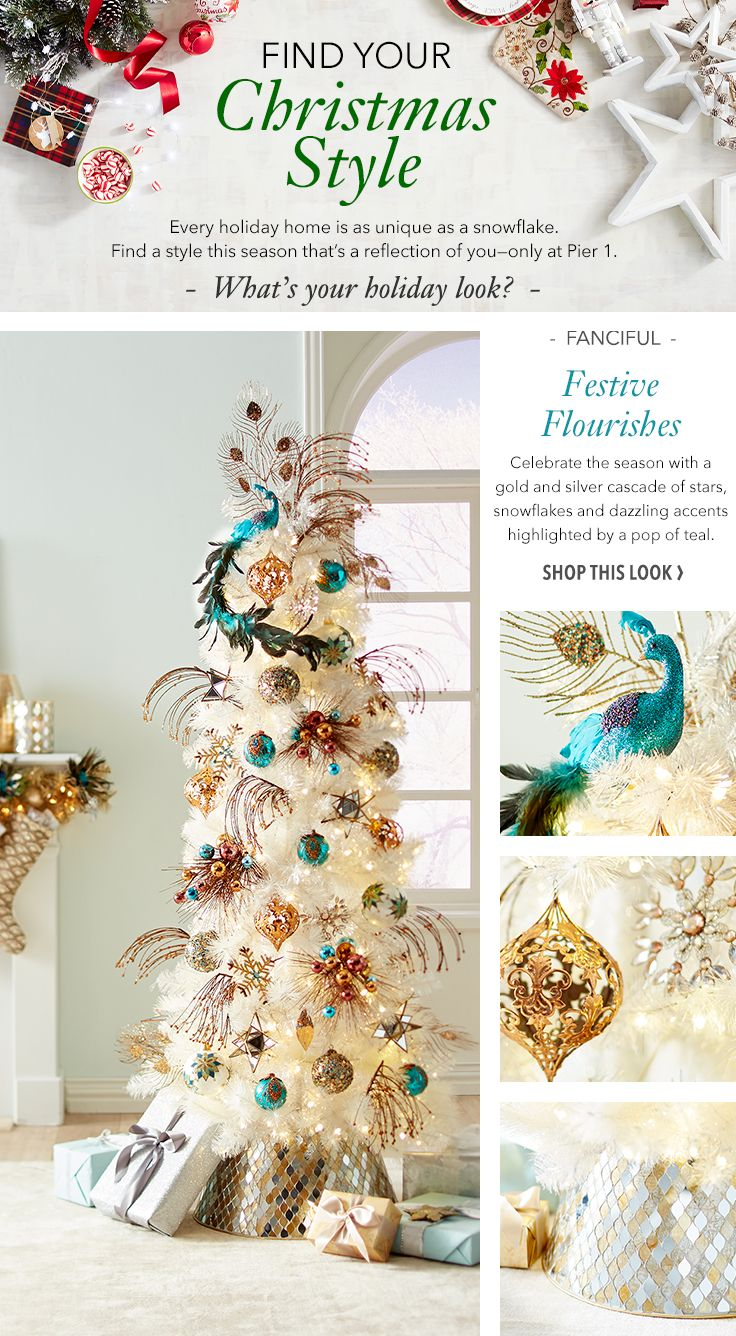 If you like to celebrate Christmas in grand style, then Pier 1's Festive Flourishes look will definitely get your message across. Let's pull out all the stops and dazzle your visitors with holiday brilliance! Come find everything you need to start the celebration.