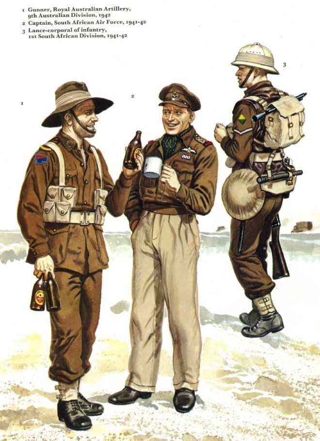 British Army North Africa. As usual, the Aussie is half-pissed and hands full of beer.