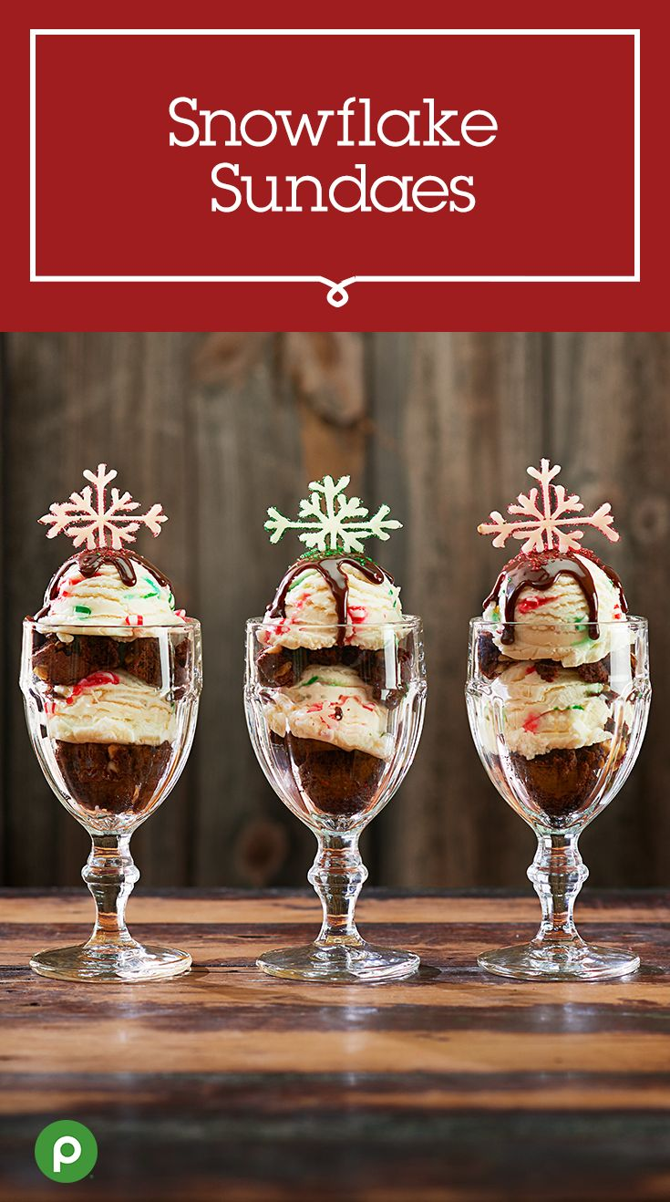 Ready to whip up a new Christmas tradition? Make Snowflake Sundaes with this Publix recipe for a festive start to the season. Pipe melted white chocolate in the shape of snowflakes onto a baking sheet, then dust with red or green decorating sugar. Place in the refrigerator to harden. Cut brownies into small squares and place in an ice cream sundae glass. Alternate with peppermint stick ice cream, then finish with your favorite toppings and a white chocolate snowflake.
