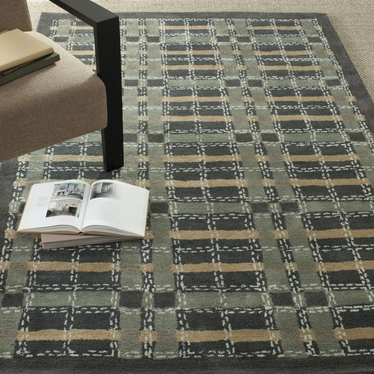 rug plaid martha stewart rug collection color wrought iron - Martha Stewart Rugs