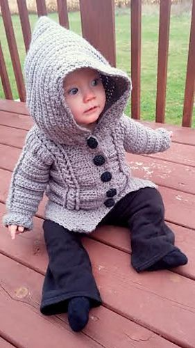 Chilly Cables Coatigan - Baby Crochet Pattern by Sonya Blackstone