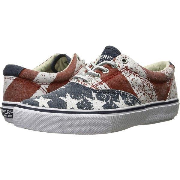 Sperry Striper LL CVO Stars Stripes (Red/White/Blue) Men's Slip on... ($30) ❤ liked on Polyvore featuring men's fashion, men's shoes, men's sneakers, multi, mens american flag shoes, sperry mens shoes, mens slip on shoes, mens red slip on shoes and mens slipon shoes #sliponsneakers