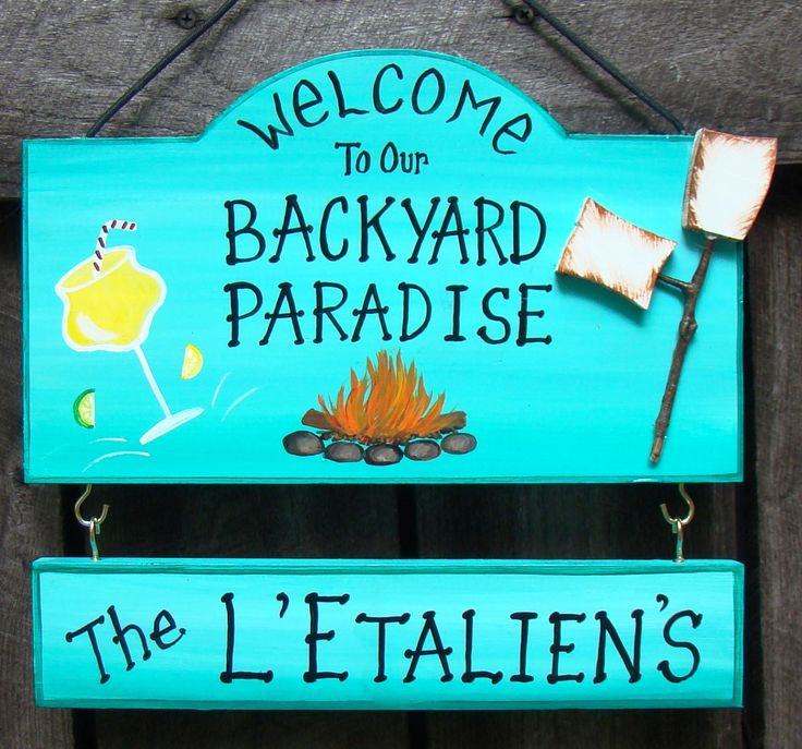 Welcome to our Backyard Paradise or Patio Camp Sign with your name Beach Pool Drink Summer Margarita Custom Personalized with Name Plate by CreativeDesigns77 on Etsy