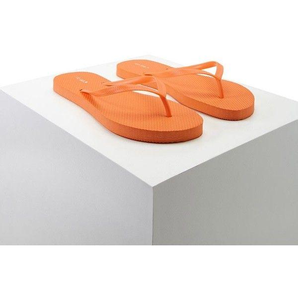 Forever21 Textured Flip Flops ($3) ❤ liked on Polyvore featuring shoes, sandals, flip flops, orange, orange platform sandals, forever 21, orange flip flops, platform sandals and orange shoes