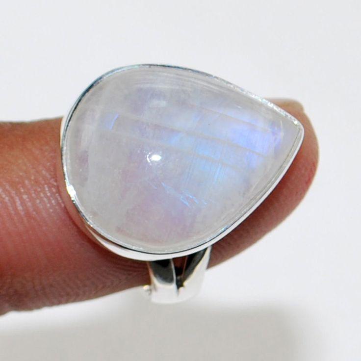 Zilveren ring met druppelvormige regenboog Maansteen 16.5 mm