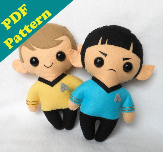 PDF PATTERN - Spock & Kirk Chibi Plush (Digital Download)