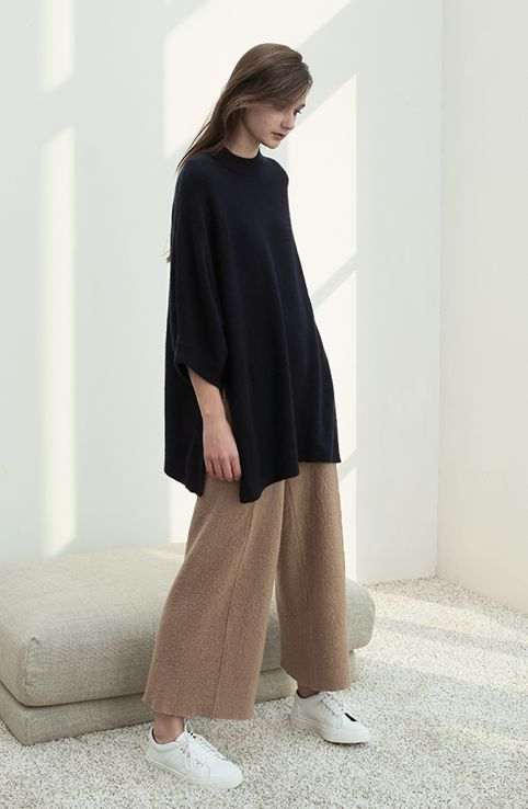 oversized black sweater, camel knit culotte pants & sneakers #style #fashion