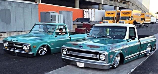 1971 GMC Sierra (L) and a 1969 Chevrolet C10 (Rt).