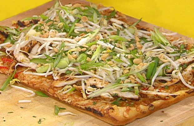 Rachel Ray's Thai Chicken Pizza. Don't be scared of the incredient list. It's INSANELY good!!