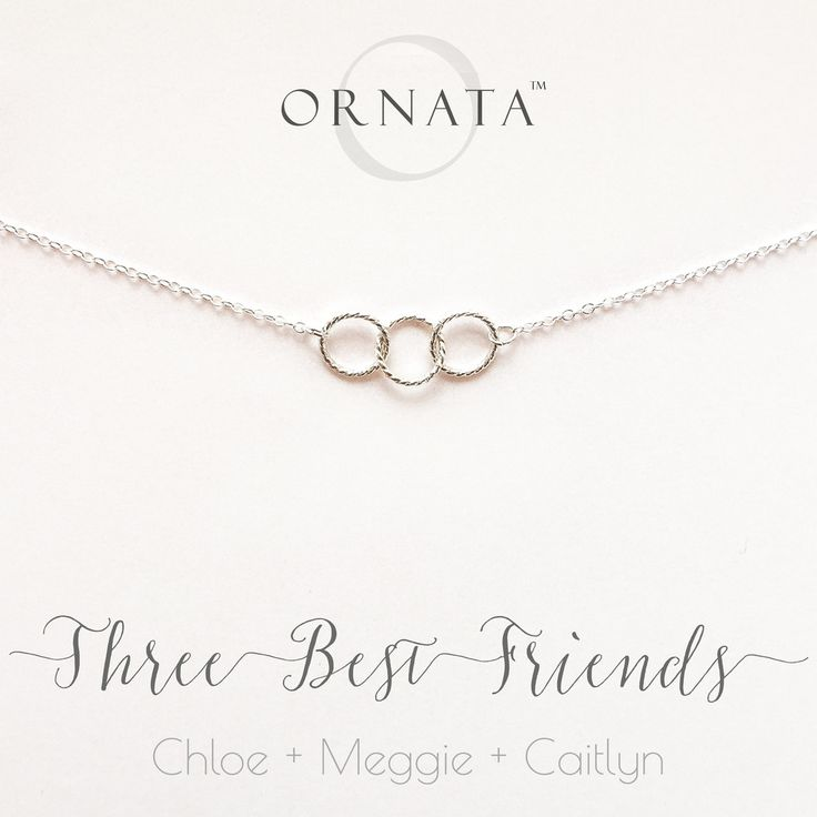 """""""Three Best Friends"""" Personalized Sterling Silver Necklace 