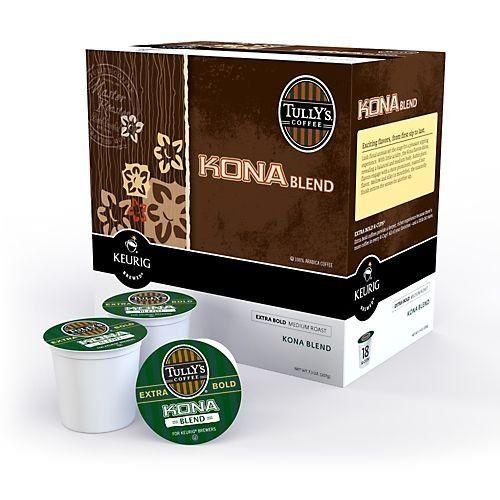 Keurig Tully's Kona Blend Coffee - K-Cup - 18-Count - http://hotcoffeepods.com/keurig-tullys-kona-blend-coffee-k-cup-18-count/