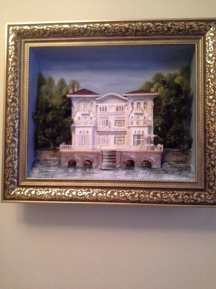 İstanbul , boğazdan bir ayrıntı rölyef tablo . Süheyla Yiğit çalışması