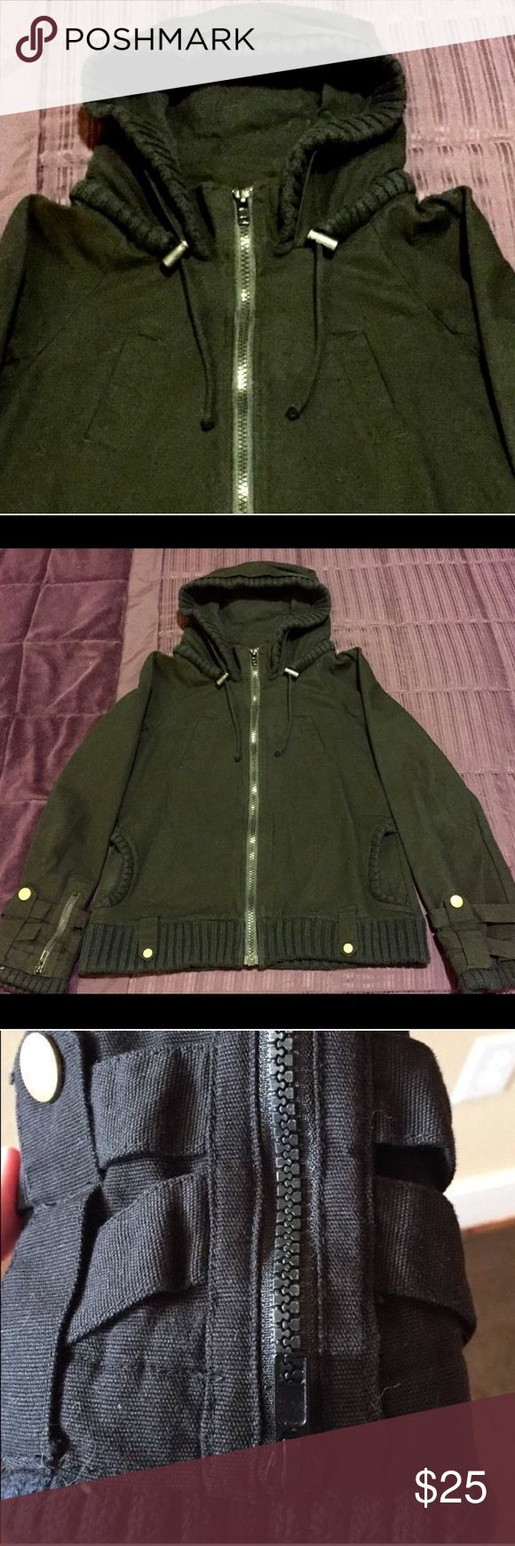 BB Dakota Jacket Super cute Moto Jacket! Durable but light enough for all seasons. Features cowl neck, large hood and double breast pockets. This coat is in good condition, normal wear. Size large but fits more like a medium. Jack by BB Dakota Jackets & Coats Utility Jackets