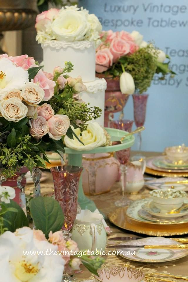 Perfect bridesmaids luncheon tea party pink roses, vintage ...