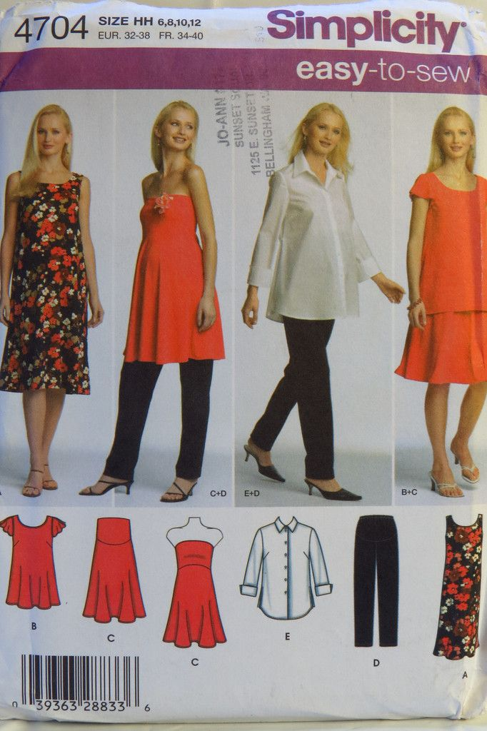 Simplicity 4704 Maternity Shirt and Knit Dress or Tunic, Pants and Skirt or Strapless Top