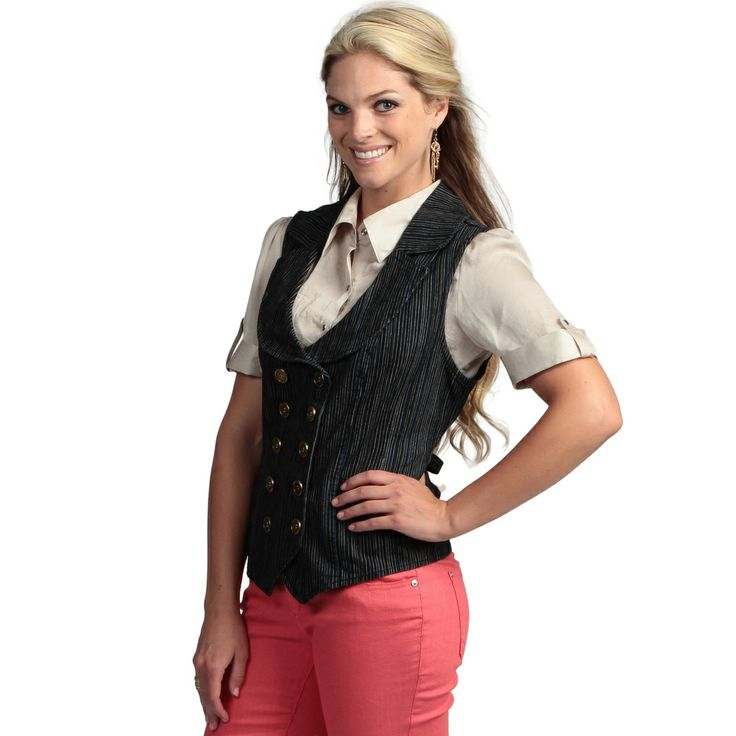 Live A Little Women's Blue Stripe Double-breasted Vest | Overstock.com Shopping - The Best Deals on Sleeveless Shirts
