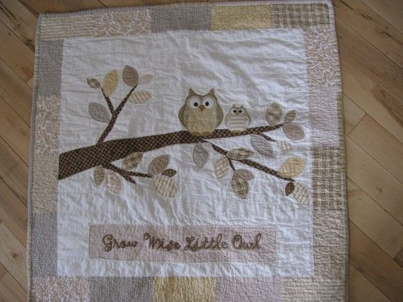OWL QUILT. A neutral Cream. Coffee, Tan, and white original owl designed quilt handmade by me (Barabooboo).  Check me out on Etsy.  This one was a Unisex quilt great for either baby boy or girl so perfect for a shower gift!  #owl # quilt   www.barabooboo.etsy.com
