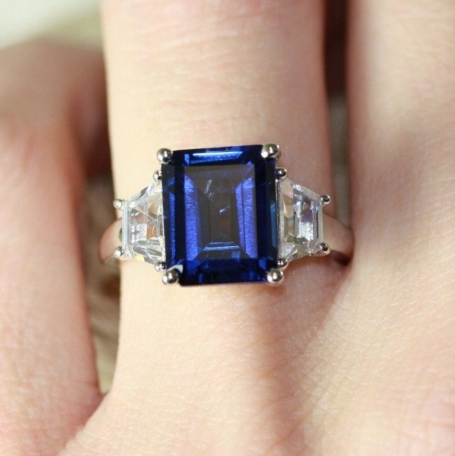 Emerald Cut Blue Sapphire Engagement Ring 3 Stone Wedding Band 10k White Gold, 7