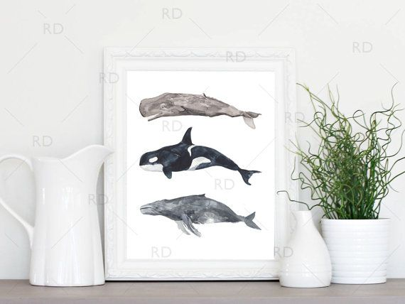 Whales  PRINTABLE Wall Art / Watercolor Whale Art / by RissDesign