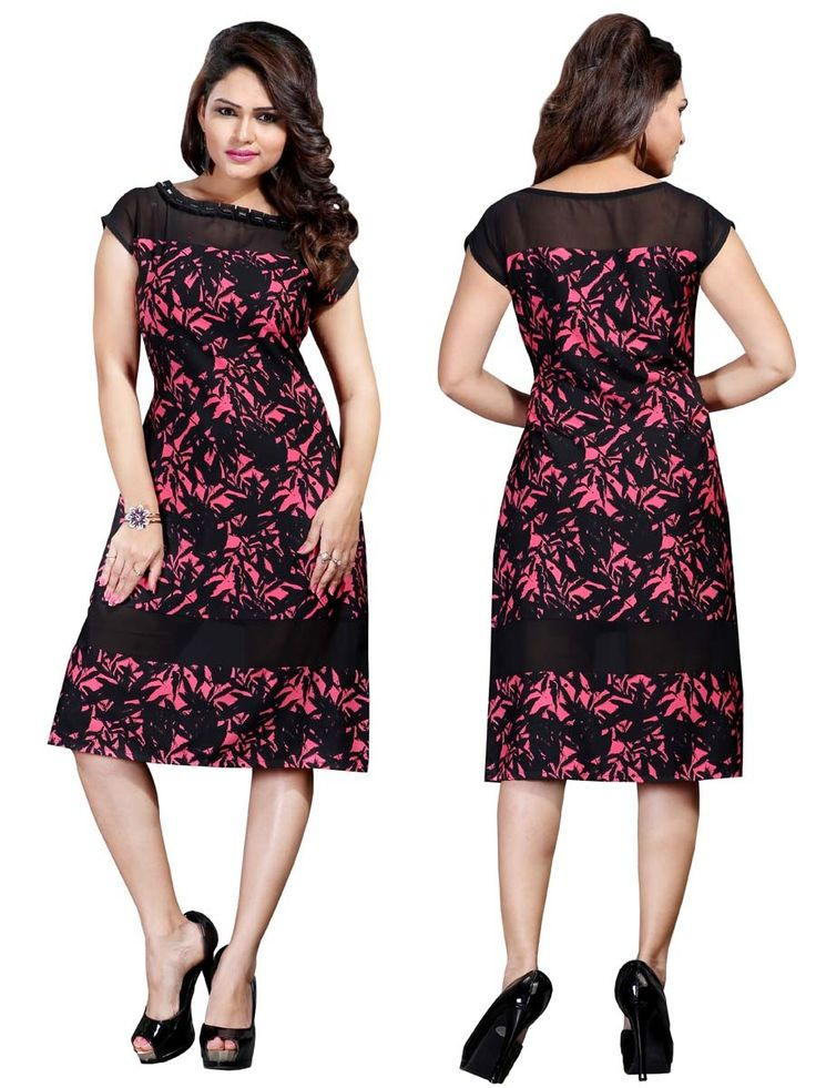 Impressive black color printed tunic fashioned on crepe is increasing its beauty with charm.  Item code: KRUM237 http://www.bharatplaza.com/new-arrivals/kurtis.html
