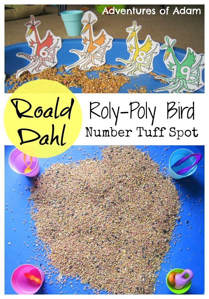 Roald Dahl Day. Roly-Poly Bird Number Tuff Spot. Sensory play and number recognition / number ordering for preschoolers and toddlers