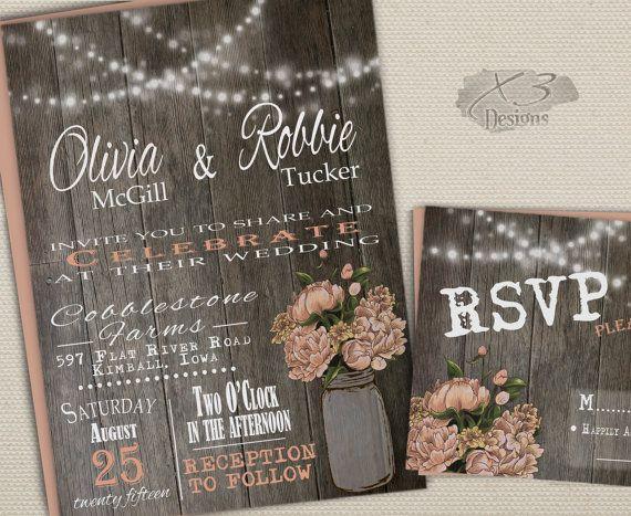 Good Rustic Printable Wedding Invitation, Mason Jar Wedding Invitation, Country  Barn Wedding Invite, Spring