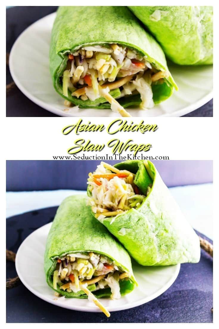 #Asian #Chicken #Slaw #Wraps is a #healthy chicken salad with an Asian flavoring! Then it is all rolled up to make a delicious wrap. via @SeductionRecipe