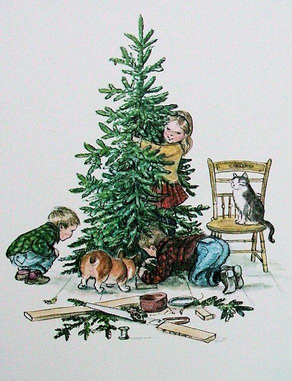 Tasha Tudor illustration of putting up the Christmas tree.
