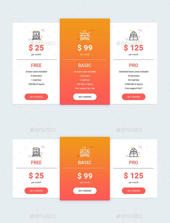 Modern Table Templates PSD Pricing Tables Templates Table