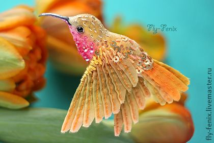 Броши ручной работы. Ярмарка Мастеров - ручная работа миниатюрная брошь - птица колибри. Рыжая.. Handmade.