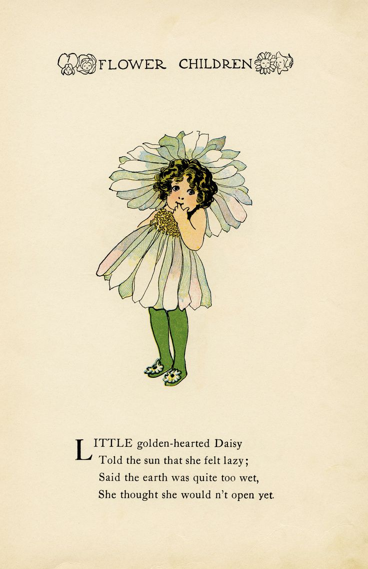 daisy flower child, Elizabeth Gordon, old book page, vintage flower children poem, vintage storybook illustration, junk journal printable
