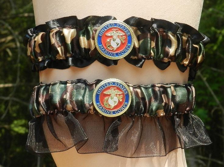 Usmc Marine Corps Military Wedding Garter Set Black Ega Bridal Ball Camo 32 00 Via