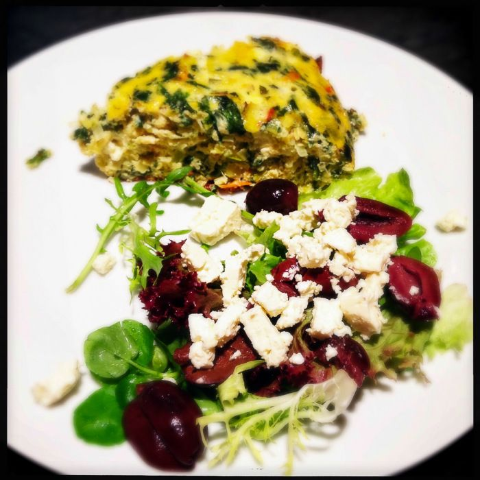 Baked omelette with sundried tomato, rocket and feta cheese - Gino D'Acampo