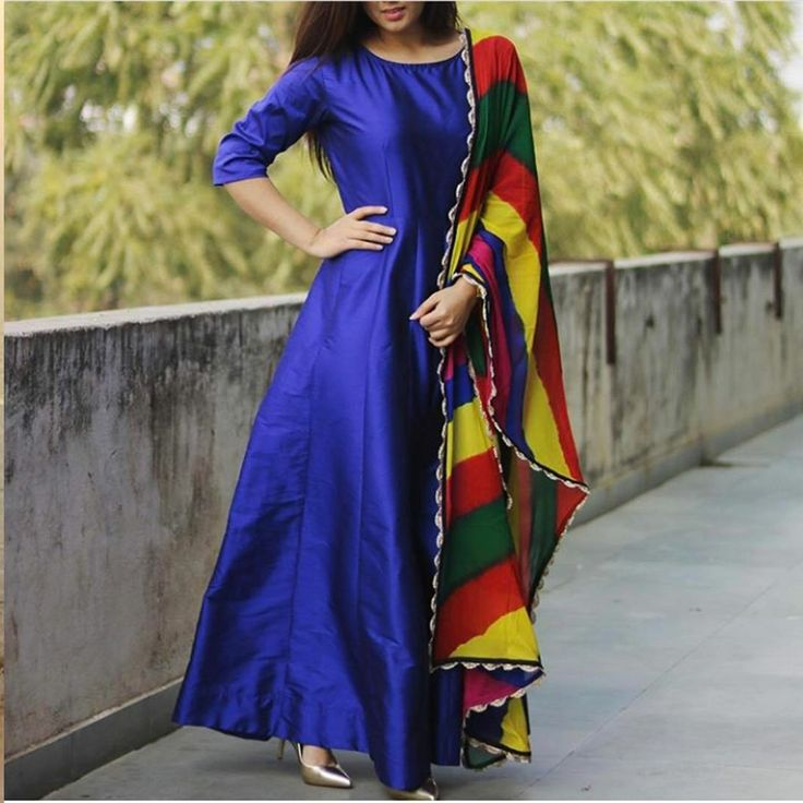 Blue Raw Silk Printed Semi Stitched Long Anarkali Suit
