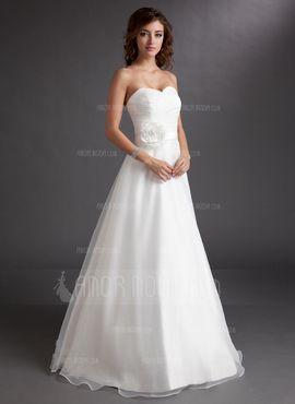 A-linjeformat Hjärtformad Golv-längd Organzapåse Satäng Bröllopsklänning med Rufsar Blomma (or) (002016728) - AmorModa
