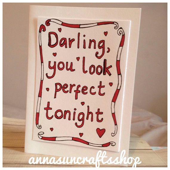Perfect Lyric Inspired Card Ed Sheeran Beyonce